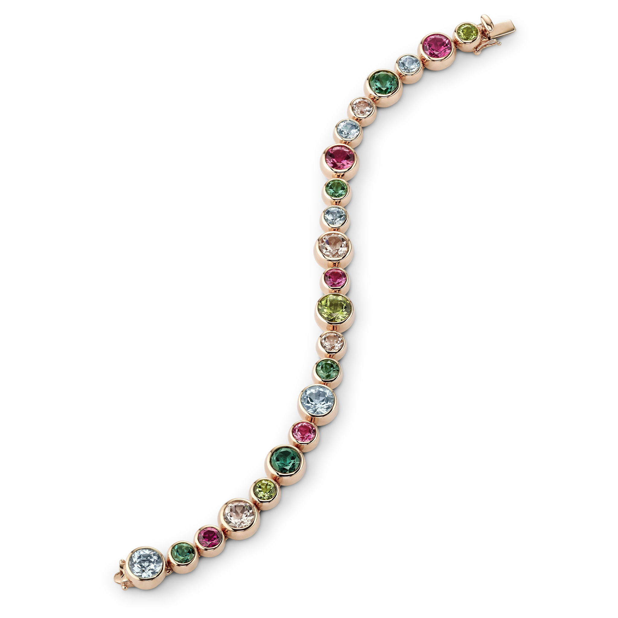 Bracelet with coloured gemstones