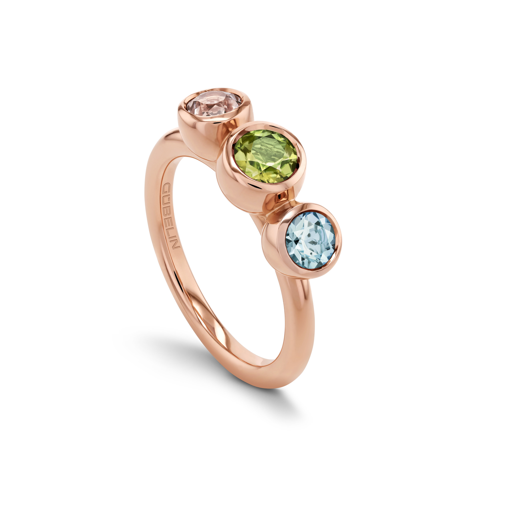 Ring with coloured gemstones