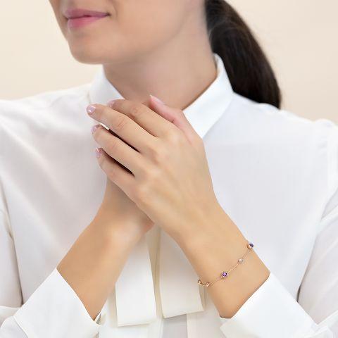 Bracelet with amethysts
