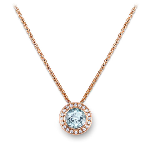 Necklace with aquamarine