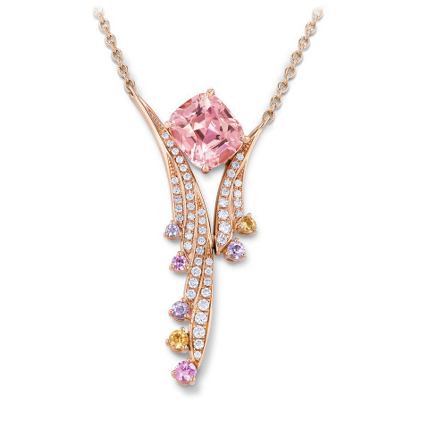 Necklace with padparadscha sapphire
