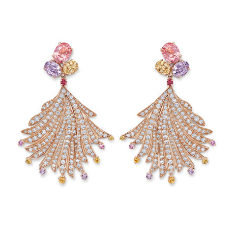 Earrings with padparadscha sapphires
