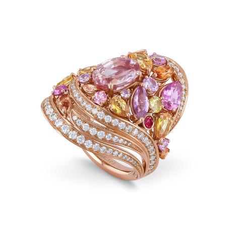 戒指镶嵌帕帕拉恰蓝宝石