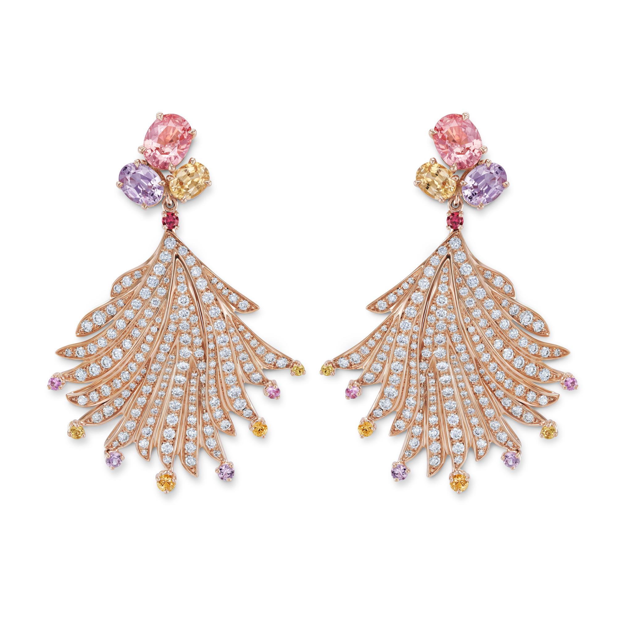 耳环镶嵌帕帕拉恰蓝宝石