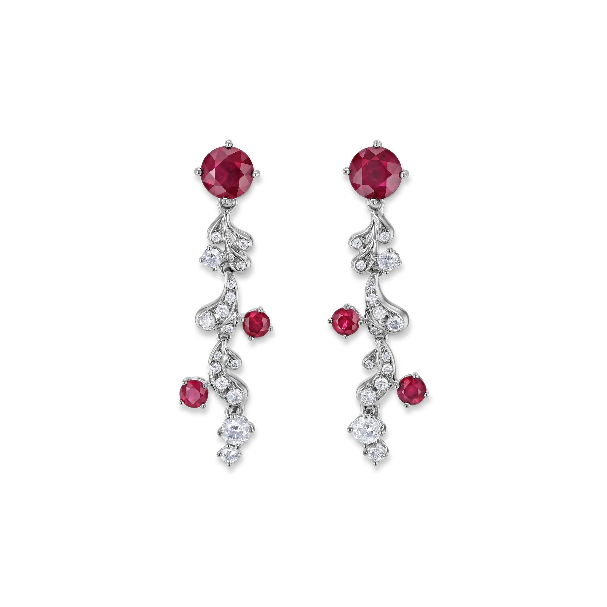 Earrings with rubies