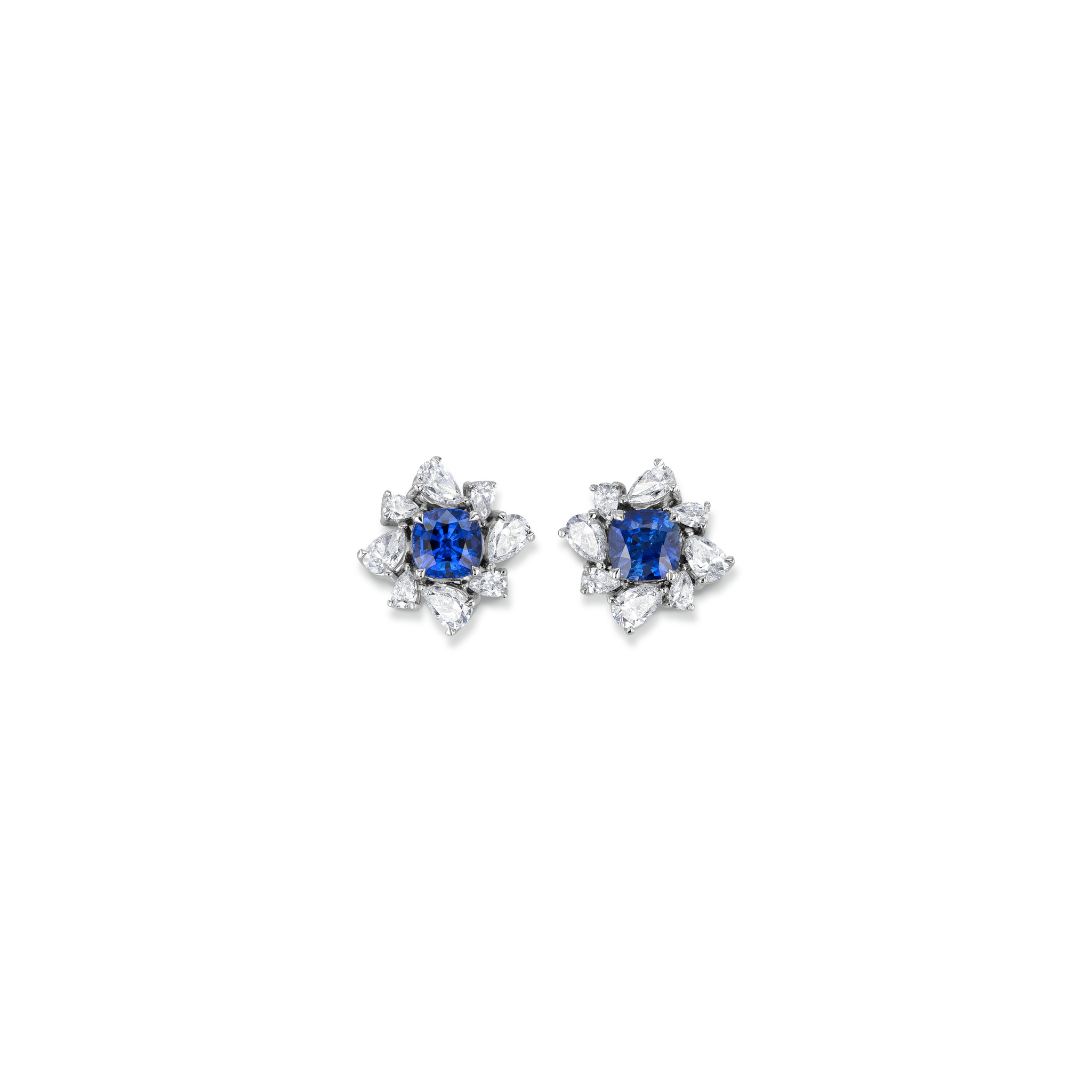 Earrings with sapphires