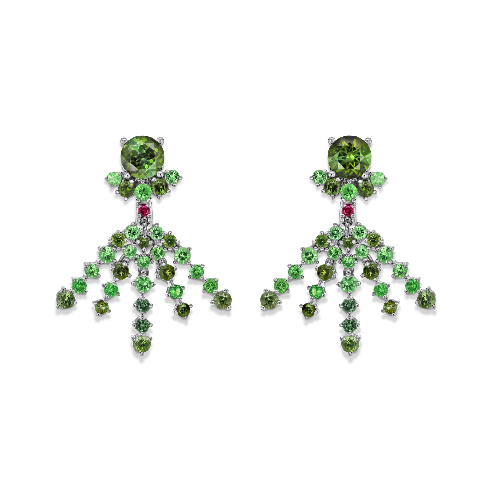 Earrings with coloured gemstones